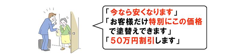 今なら安くなります お客様だけ特別にこの価格で塗替えできます 50万円割引します