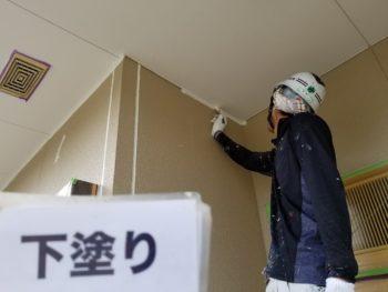 阿南市 外壁塗装 H様邸 ビニール養生や軒天/外壁下塗り