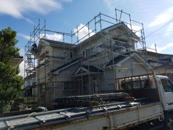 板野郡藍住 外壁フッ素塗装 N様邸 足場組立作業が完了いたしました☆