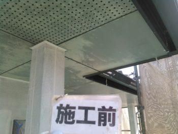 徳島市 外装リフォーム U様邸 ビニール養生後、軒天井塗装
