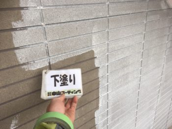 小松島市 アーバントーン外壁塗装 屋根塗装 I様邸 外壁下塗り1回目や軒天井塗装を行っております(^^) 仕上がりは色合いとか可愛いイメージです♪