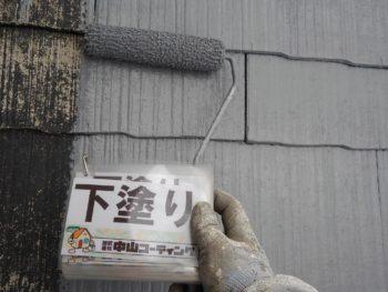 徳島市 屋根 カラーベスト 塗装 下塗り
