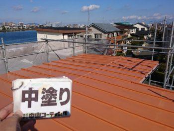 徳島市 新浜町 屋根 塗装 中塗り