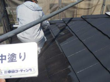 徳島県 中昭和 屋根 塗装 中塗り