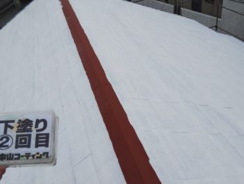 屋根 塗装 下塗り2回目 徳島県