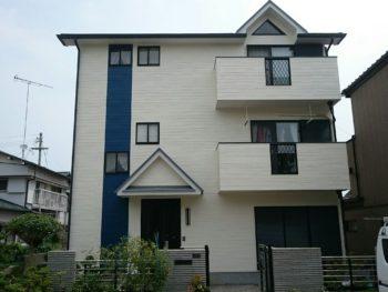 徳島県小松島市 三階建て住宅の屋根ガイナ 外壁無機塗装