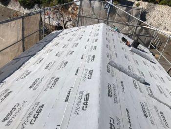 屋根 板金 ルーフィング 貼り付け後 徳島県