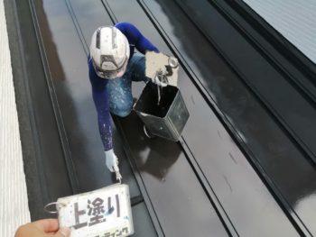 瓦棒屋根 塗装 上塗り 徳島県 上八万