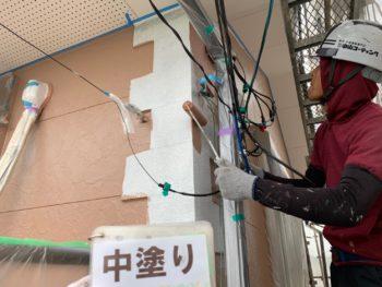徳島県 小松島市 外壁 塗装 アクセント 中塗り