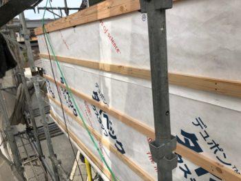 徳島県 大麻町 大工工事 手摺り壁 防水シート 胴縁