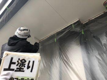 徳島県 阿南市 長生町 細部塗装 軒天井 上塗り