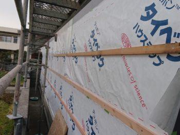 徳島県 阿南市 長生町 大工工事 外壁 カバー 防水シート 胴縁