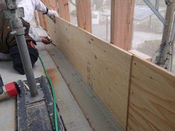 徳島県 大麻町 大工工事 手摺り壁 野地板