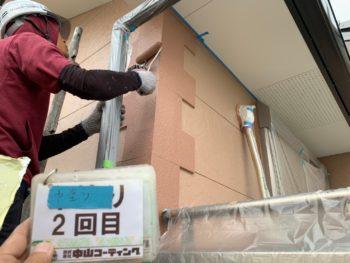 徳島県 小松島市 外壁 塗装 アクセント 中塗り 2回目
