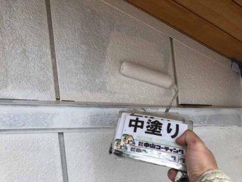 徳島県 羽ノ浦町 外壁塗装 中塗り