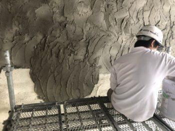 徳島県 徳島市 銀座 モルタル造形 壁面 小手仕上げ