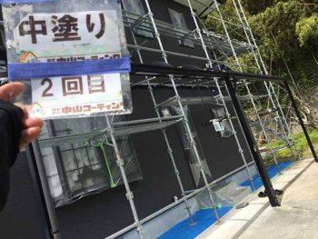 徳島県 撫養町 外壁塗装 中塗り 塗装後