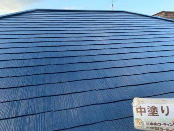 徳島県 大麻町 屋根 塗装 中塗り後