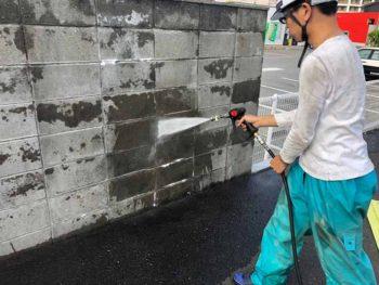 徳島県 城東町 病院 高圧洗浄 塀