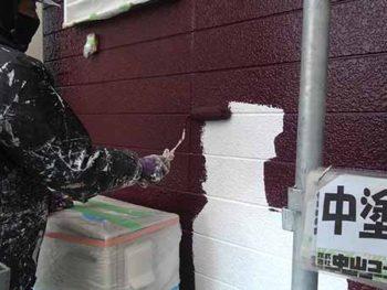 徳島県 大麻町 外壁塗装 中塗り