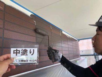 徳島県 松茂町 外壁塗装 中塗り