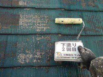 徳島県 大麻町 屋根塗装 下塗り 2回目