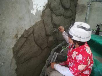 徳島県 徳島市 銀座 モルタル造形 階段室 石垣