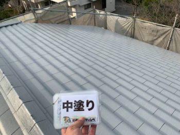 徳島県 川内町 屋根 塗装後 中塗り