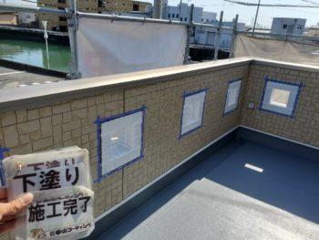 徳島県 城東町 病院 外壁 塗装 下塗り後
