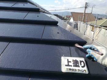 徳島県 藍住町 屋根 塗装 上塗り