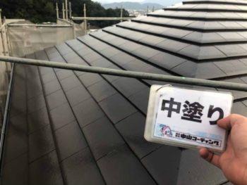 徳島県 八万 屋根塗装後 中塗り