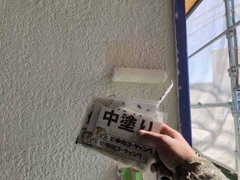 徳島県 羽ノ浦町 外壁塗装 玄関周り 中塗り
