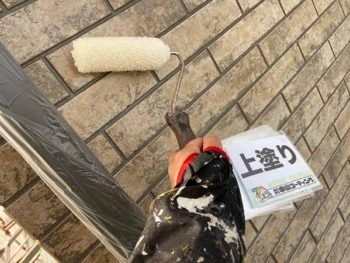 徳島県 北田宮 外壁 塗装 上塗り クリヤー