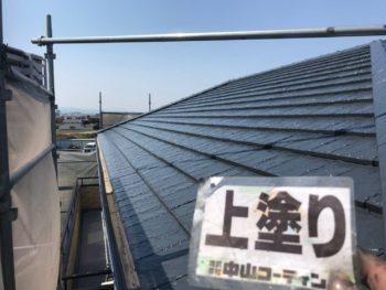 徳島県 川内町 屋根塗装 上塗り後