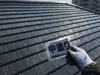 徳島県 川内町 屋根塗装 中塗り後