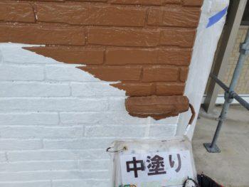 徳島県 城東町 病院 外壁 塗装 中塗り 入口