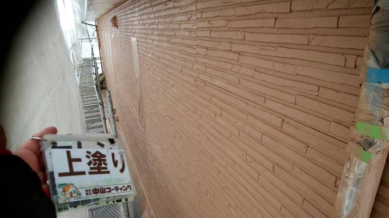 徳島県 八万 外壁塗装 上塗り 吹き付け後