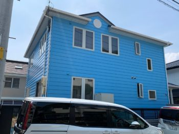 阿南市羽ノ浦町 外壁屋根塗装 水色の外壁施工例