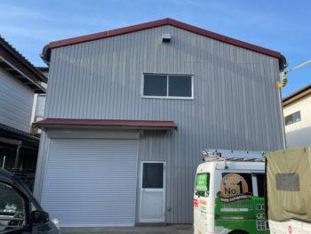 板野郡北島町 倉庫の大波スレート屋根カバー工法 外壁塗装