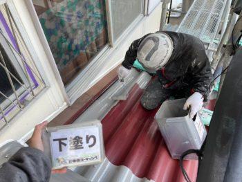 屋根塗装 徳島 GAINA 下塗り  徳島市 塗替え